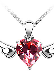 Women's Pendant Necklaces Crystal Heart Chrome Love Jewelry For Anniversary Congratulations Gift 1pc