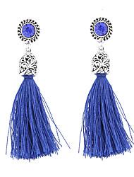 Boucles d'oreille goutte Bijoux Original Pendant Bijoux de Luxe Bohême Le style mignon Fait à la main Dentelle Forme de CercleNoir Bleu