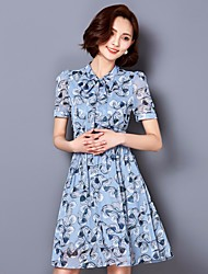 Women's Going out A Line Dress,Floral Shirt Collar Above Knee Short Sleeve Polyester Spring Summer High Rise Micro-elastic Thin