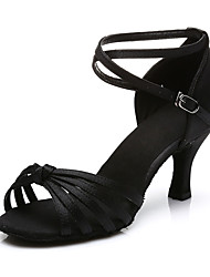 Women's Dance Shoes Latin Sandals dance shoes  ladyGirls Cuban Heel 5/7 Black gold silver red Customizable(217)