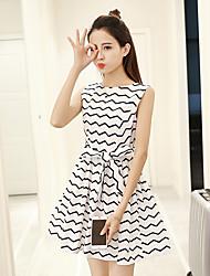 2017 printemps nouveau tempérament coréen slim big swing robe femmes&Robe ronde en robe sans manches