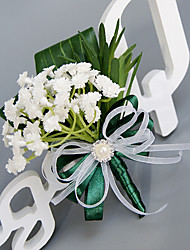Wedding Flowers Free-form Peonies Boutonnieres Wedding Party/ Evening Dark Green Polyester Satin