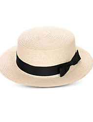 Women Summer Sun Hats Flat Top Bowknot Wide Brim Hats