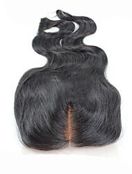 Black Full Lace Body Wave Human Hair Closure Light Brown Swiss Lace 35g-45g gram Cap Size