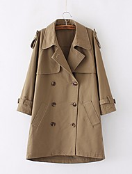 Women's Casual/Daily Simple Fall Trench Coat,Solid Shawl Lapel Long Sleeve Long Cotton