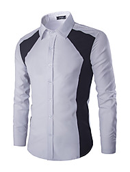 The Latest Men's Fashion Spell Color Design Long-Sleeved Shirt