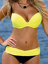 Women's Bandeau Bandeau Bikini,Solid Polyester Pink / Yellow