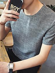 Neue Männer&# 39; s Normallack Rundhals Kurzarm T-Shirt Café