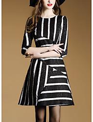 pré-2017 ressort nouveau robe rayée de manchon de banlieue était mince jacquard femelle une jupe de mot