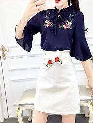 realmente fazendo 2017 primavera e no verão de moda rendas chiffon bordados blusa + família terno de saia nome vento