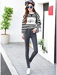 Signo nuevo resorte significativamente delgado estiramiento cintura jeans pies lápiz pantalones pantalones mujeres de gran tamaño