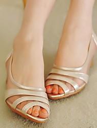 Damen-Sandalen-Lässig-Stoff-Keilabsatz-Komfort-Gold Schwarz Silber