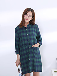 2017 spring new Korean wild retro plaid long-sleeved shirt was thin loose shirt female long section