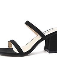 Damen Sandalen Club-Schuhe PU Frühling Sommer Normal Kleid Club-Schuhe Blockabsatz Block Ferse Schwarz Gelb Rot 7,5 - 9,5 cm