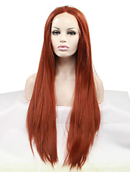 Sylvia Synthetic Lace front Wig Auburn Heat Resistant Long Straight Synthetic Wigs