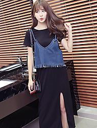 modèle vidéo proxy fourni 2017 korean été femme robe à manches courtes robe en deux parties
