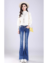 Women's High Rise Stretchy Jeans Pants,Simple Loose Bootcut Solid