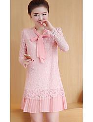 Signe de la robe 2017 printemps nouveau ventilateur coréen à l'arc à manches longues partie était mince de grandes étages fondant un
