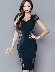 Korean Shopping ladies fashion lace stitching package hip dress