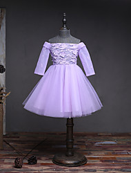 A-line Knee-length Flower Girl Dress - Lace Tulle 3/4 Length Sleeve Off-the-shoulder with Flower(s) Lace