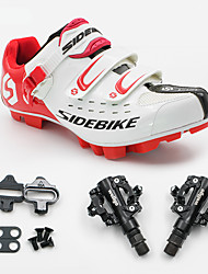 SD001 Cycling Shoes Unisex Outdoor / Mountain Bike White / Red-sidebike And PD-M520 Lock Pedals