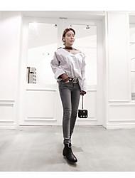 17 Korean fashion models sexy V-neck striped long-sleeved shirt loose stitching net yarn perspective high collar shirt