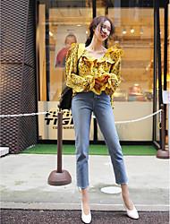 17 Frühling neue V-Ausschnitt flouncing elegante Western-Stil Trompete Ärmel falten Skinny Puppe Blumen-Shirt