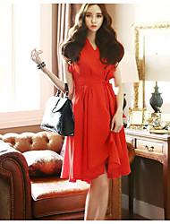 2016 novo v-pescoço vestido de chiffon sexy slim chiffon vestido de princesa vestido vestido vermelho
