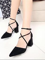 Women's Sandals Summer Slingback PU Casual Chunky Heel Block Heel