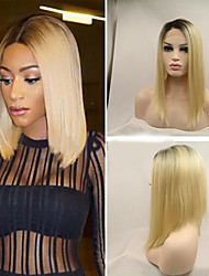 Black to Blonde Straight Bob Wig Hand Made Synthetic Lace Front bob wig Natural Ombre Hair Heat Resistant Synthetic Wig For Woman
