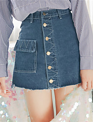 2017 new spring denim skirt skirt package hip pockets Slim was thin A word skirt skirts