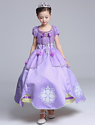 Ball Gown Tea-length Flower Girl Dress - Cotton Satin Tulle Short Sleeve Jewel with Bow(s) Flower(s) Pattern / Print Ruffles
