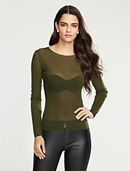Damen Solide Einfach / Street Schick Ausgehen / Lässig/Alltäglich T-shirt,Rundhalsausschnitt Alle Saisons Langarm Rosa / Beige / Grün