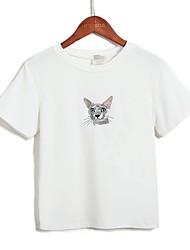 40 Watte Verbrauch süße Katze Stickerei 2017 Sommer Kurzarm-T-Shirt Frauen