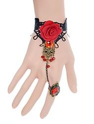 Mulheres Pulseiras em Correntes e Ligações Moda Renda Formato de Flor Formato de Folha Vermelho Jóias ParaCasamento Festa Ocasião