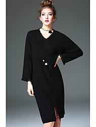 Для женщин Большие размеры А-силуэт Платье Однотонный,V-образный вырез Макси Без рукавов Шёлк Все сезоны С высокой талией Неэластичная
