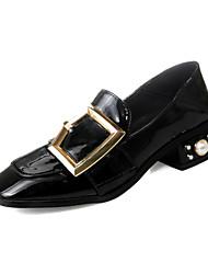 Damen-High Heels-Kleid-Mikrofaser-Blockabsatz Block Ferse-Komfort-Schwarz