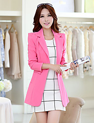 Women's Going out Casual/Daily Cute Spring Fall Blazer,Solid Shirt Collar Long Sleeve Long Others