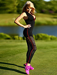 Women's Mid Rise yoga / Running Sports Zip Front Mock Neck Jumpsuits Active Skinny Cut Out Solid All Seasons Sleeveless Black