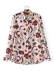Damen Solide Einfach Lässig/Alltäglich T-shirt,V-Ausschnitt Langarm Kunstseide