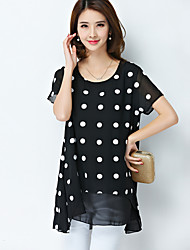Summer new large size women fat MM plus dot wave point was thin loose short-sleeved chiffon shirt blouse