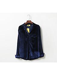 Signer confortable commuter korean velvet lapel sens exquis de la chute solide or chemise en velours chemise femme