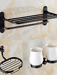 A Set of Three Products(Bathroom Shelf/Towel Toothbrush Holder/Soap Dishes/) Of Oil Rubbed Bronze