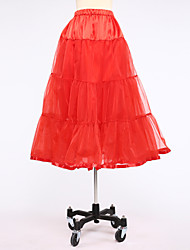 Slips Ball Gown Slip Tea-Length 2 Satin Tulle White Black Red