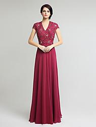 Gaine / colonne mère de la robe de mariée en mousseline de soie à manches courtes en dentelle en dentelle