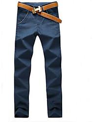 Masculino Simples Cintura Média Elástico Chinos Calças,Solto Sólido