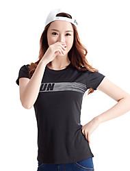 Women's Short Sleeve Running Tops Breathable Comfortable Summer Sports Wear Running Polyester Elastane Slim Classic