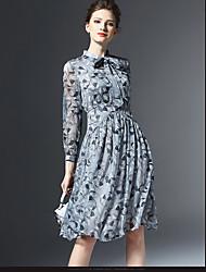# 2016 automne nouvelle femme femmes tempérament mince mis sur une robe col en gros en mousseline de soie