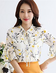 Women's Going out Casual/Daily Work Cute Blouse,Floral Round Neck ¾ Sleeve Polyester