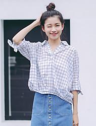 2017 parágrafo verão camisa de manga temperamento coreano vez v-pescoço curvo hem morcego algodão respirável atada